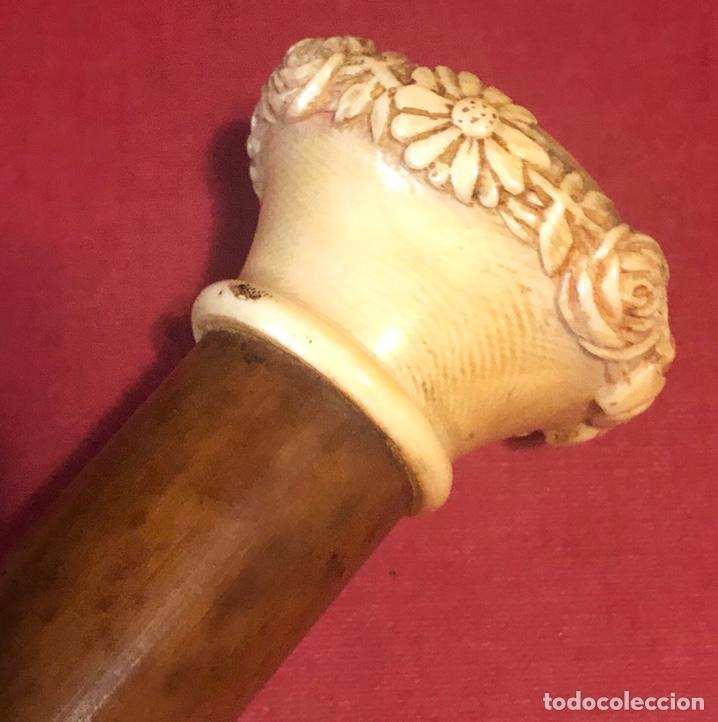 Antigüedades: Fantástico bastón antiguo, en caña, y hueso tallado. - Foto 4 - 208146262