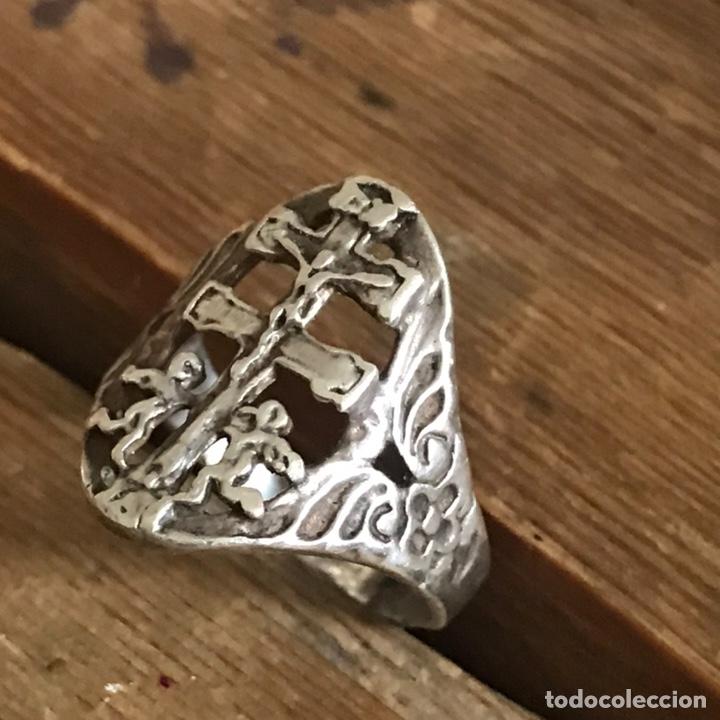 Antigüedades: Antiguo anillo de plata. Cruz de Caravaca - Foto 3 - 208149673