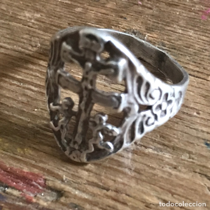Antigüedades: Antiguo anillo de plata. Cruz de Caravaca - Foto 7 - 208149673