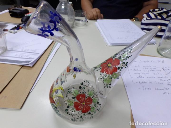 PORRON CRISTAL VIDRIO ESMALTADO FIRMADO CIRERA (Antigüedades - Cristal y Vidrio - Catalán)
