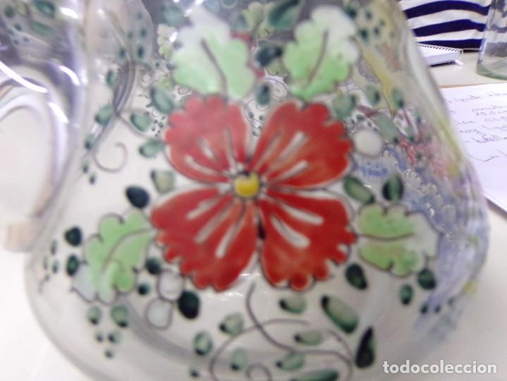 Antigüedades: porron cristal vidrio esmaltado firmado cirera - Foto 5 - 208158628