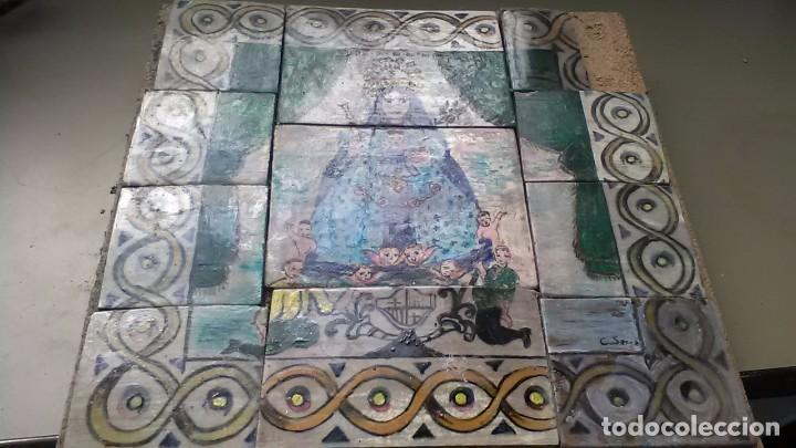 AZULEJOS DE LA VIRGEN MARIA, FIRMADO C. SERRA, FELIGRESES, ROGATIVA O EXVOTO (Antigüedades - Porcelanas y Cerámicas - Azulejos)