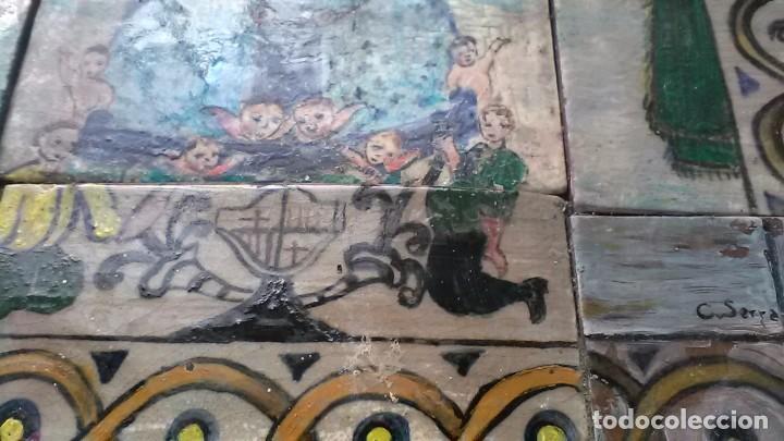 Antigüedades: Azulejos de la Virgen Maria, Firmado C. Serra, feligreses, rogativa o exvoto - Foto 3 - 208165870