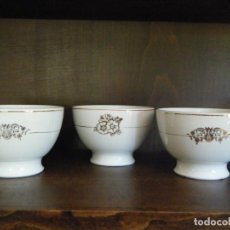 Antiquités: LOTE DE 3 BOLES O CUENCOS DE PORCELANA SAN CLAUDIO AÑOS 50. Lote 208166410