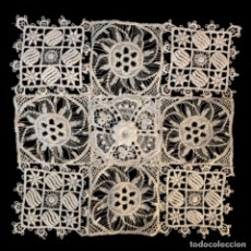 Antigüedades: PAÑUELO ANTIGUO ENCAJE GUIPUR FRANCÉS 20X20CM. Lote 208167606