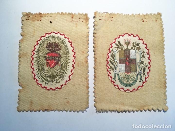 ESCAPULARIO APOSTOLADO DE LA ORACIÓN PIO IX 14 JULIO 1877 (Antigüedades - Religiosas - Escapularios Antiguos)