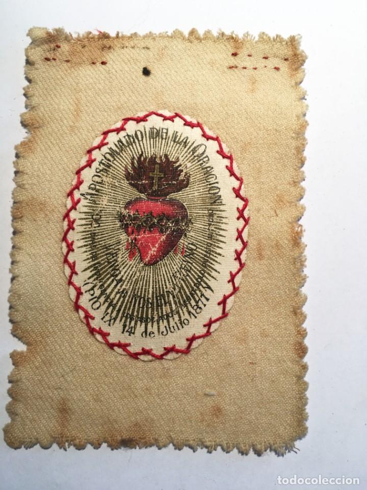 Antigüedades: ESCAPULARIO APOSTOLADO DE LA ORACIÓN PIO IX 14 JULIO 1877 - Foto 2 - 208187863