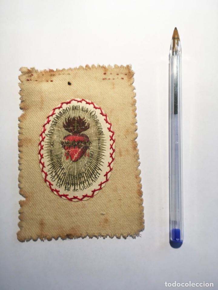 Antigüedades: ESCAPULARIO APOSTOLADO DE LA ORACIÓN PIO IX 14 JULIO 1877 - Foto 7 - 208187863