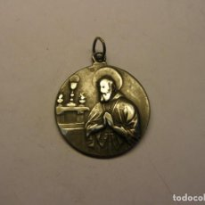 Antigüedades: ANTIGUA MEDALLA RELIGIOSA DE SANTO Y VIRGEN, DE PLATA.. Lote 208208552