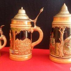 Antigüedades: 3 JARRAS DE CERVEZA ALEMAN Y AUSTRIA. MIDE 18X8.5_17X8-11X5. Lote 208251840
