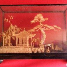 Antigüedades: PRECIOSO CUADRO DIORAMA CON PAISAJE HECHO EN MADERA CHINO.MIDE 25 X15. Lote 208274598