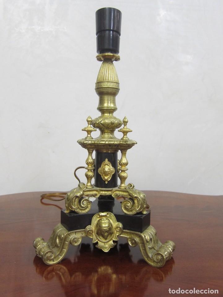 LÁMPARA BRONCE SXIX (Antigüedades - Iluminación - Lámparas Antiguas)