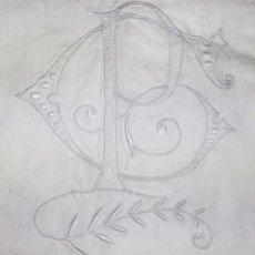 Antigüedades: JUEGO DE CAMA EN LINO. INDIVIDUAL. INICIALES BORDADAS . ESPAÑA. SIGLO XIX. Lote 208366387
