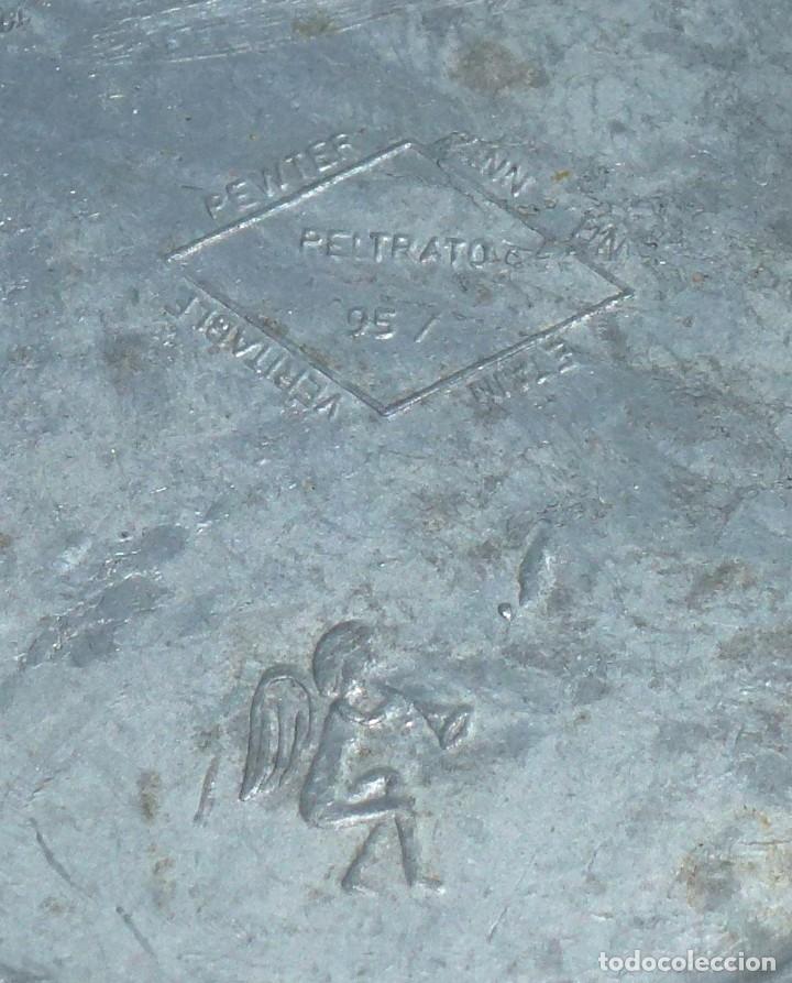 Antigüedades: Pareja De Platos De Peltre Y Ceramica Esmaltada. Para Colgar. Sellados.10 Cm. - Foto 6 - 219029292