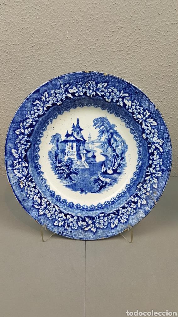 PLATO MEDIADOS SIGLO XIX DE LA REAL FÁBRICA DE SARGADELOS, SERIE VISTAS IMAGINARIAS, AZUL (Antigüedades - Porcelanas y Cerámicas - Sargadelos)