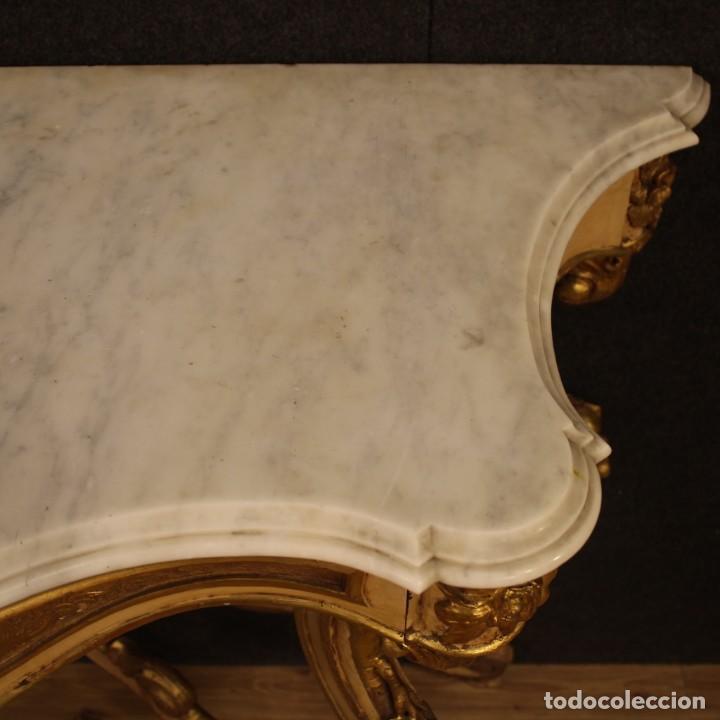 Antigüedades: Consola italiana lacada y dorada en estilo Louis Philippe con encimera de mármol - Foto 4 - 208448433