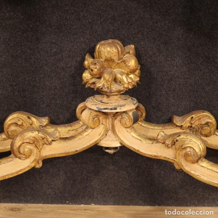 Antigüedades: Consola italiana lacada y dorada en estilo Louis Philippe con encimera de mármol - Foto 6 - 208448433