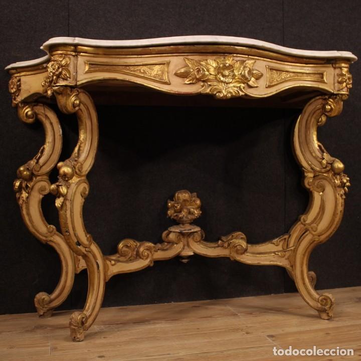Antigüedades: Consola italiana lacada y dorada en estilo Louis Philippe con encimera de mármol - Foto 7 - 208448433