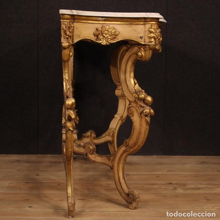 Antigüedades: Consola italiana lacada y dorada en estilo Louis Philippe con encimera de mármol - Foto 8 - 208448433