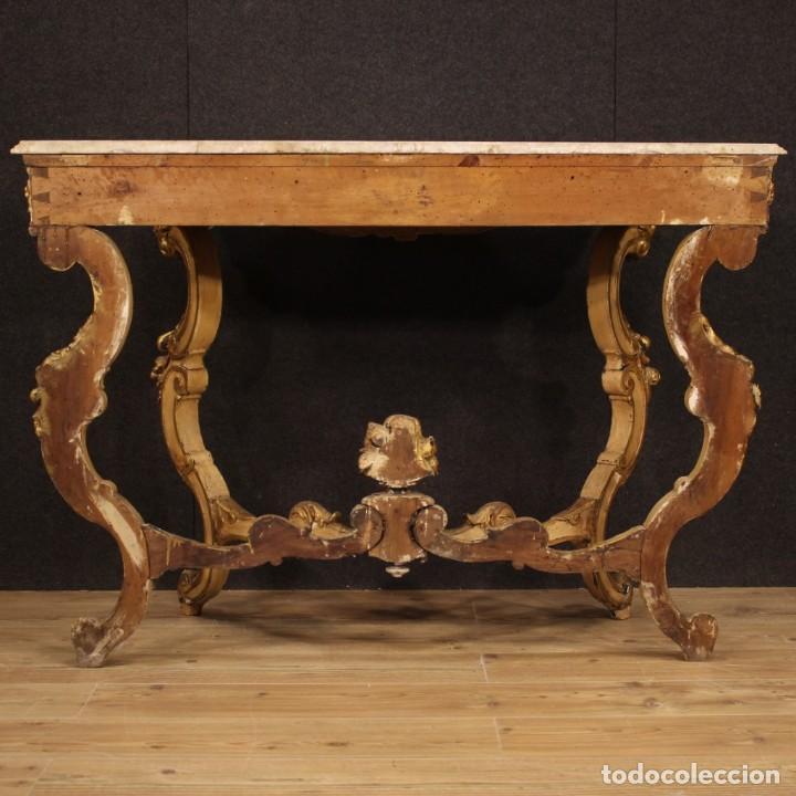 Antigüedades: Consola italiana lacada y dorada en estilo Louis Philippe con encimera de mármol - Foto 9 - 208448433