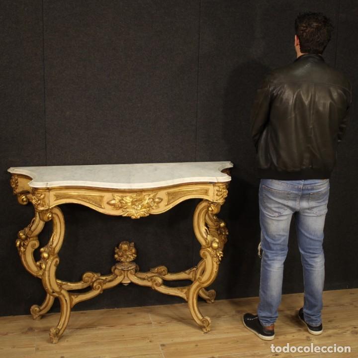 Antigüedades: Consola italiana lacada y dorada en estilo Louis Philippe con encimera de mármol - Foto 10 - 208448433
