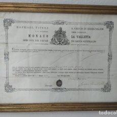 Antigüedades: RELICARIO RELIQUIA ÓSEA SIGLO XIX, CON AUTÉNTICA Y MARCO PAN DE ORO. Lote 208462297