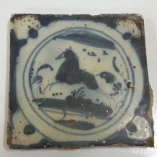 Oggetti Antichi: AZULEJO/BALDOSA DE TRIANA FIGURA CABALLO S.XVIII (1890). Lote 208475048