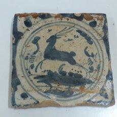 Oggetti Antichi: AZULEJO/BALDOSA DE TRIANA FIGURA VENADO S.XVIII (1892). Lote 208475362