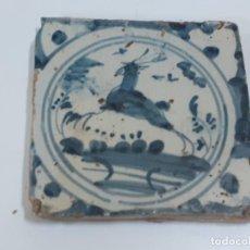 Oggetti Antichi: AZULEJO/BALDOSA DE TRIANA FIGURA VENADO S.XVIII (1897). Lote 208476250