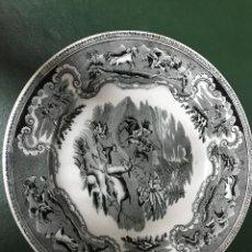 Antigüedades: PLATO DE PORCELANA CARTAGENA EN NEGRO. Lote 208485501