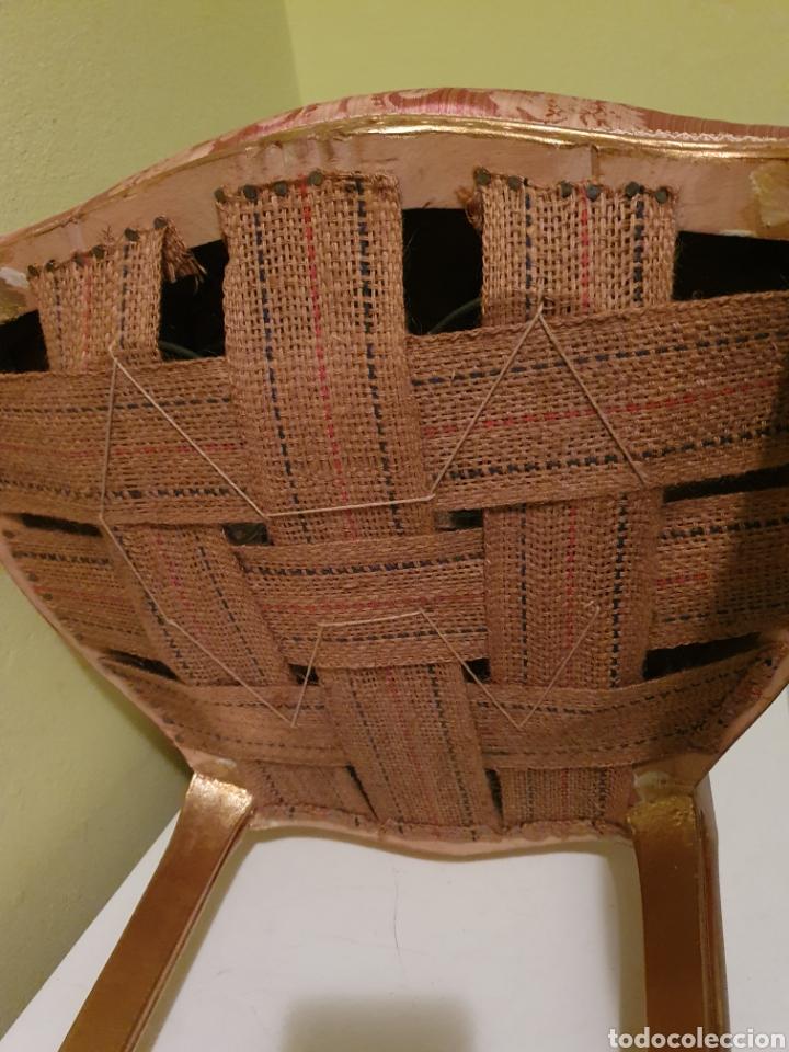 Antigüedades: EXQUISITA PAREJA DE SILLAS TALLADAS EN MADERA ESTILO ISABELINAS DORADAS - Foto 10 - 151395340