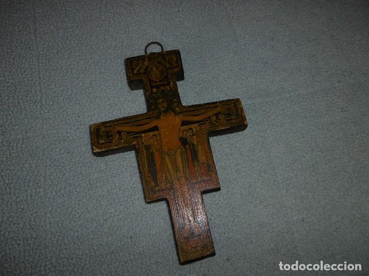 Antigüedades: ANTIGUA CRUZ DE MADERA DE SAN DAMIÁN. JESÚS HABLÓ A SAN FRANCISCO. - Foto 4 - 208593921
