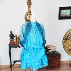 Antigüedades: ESPECTACULAR VESTIDO ANTIGUO DE ÉPOCA. INCLUYE CHAQUETA CORPIÑO. SIGLO XIX.. Lote 208595037