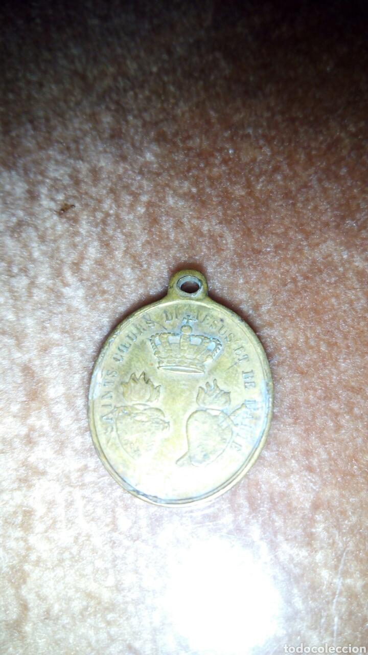 Antigüedades: Antigua Medalla a 2 Caras de San Ignacio y santo corazon de Jesus y Maria,Francesa - Foto 3 - 208650802