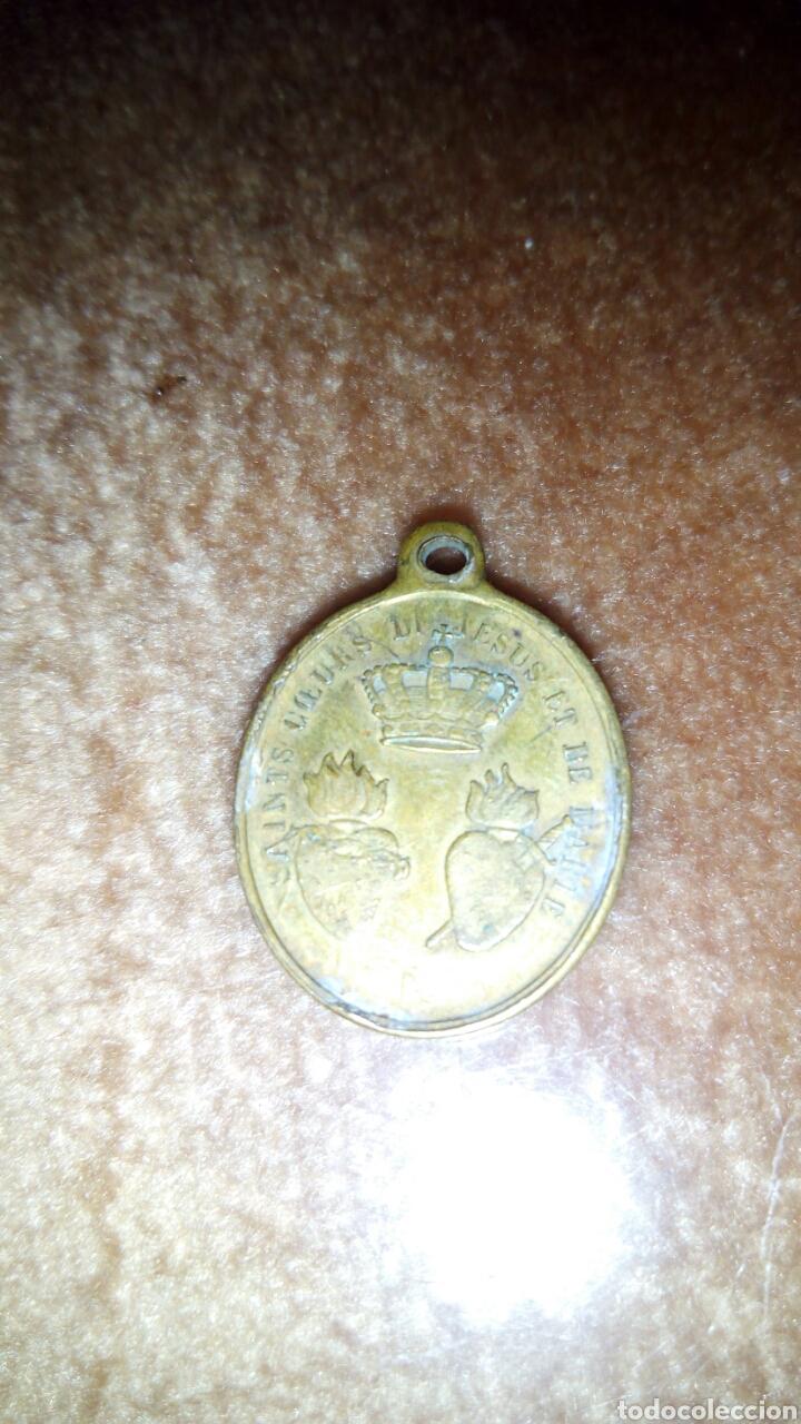 Antigüedades: Antigua Medalla a 2 Caras de San Ignacio y santo corazon de Jesus y Maria,Francesa - Foto 4 - 208650802
