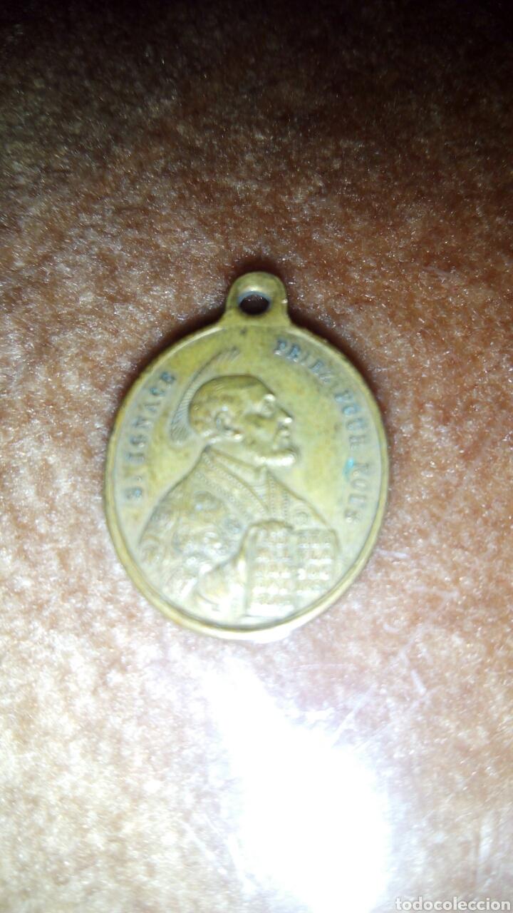 ANTIGUA MEDALLA A 2 CARAS DE SAN IGNACIO Y SANTO CORAZON DE JESUS Y MARIA,FRANCESA (Antigüedades - Religiosas - Medallas Antiguas)