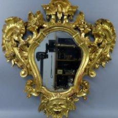 Antigüedades: CORNUCOPIA ESPEJO CARLOS III DE INSPIRACION ITALIANA EN MADERA TALLADA Y DORADA HACIA 1760. Lote 208661022