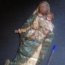 Antigüedades: VIRGEN CON NIÑO BORDADO PAPEL Y TELA XIX. Lote 208675511