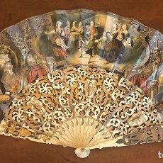 Antigüedades: PRECIOSO ABANICO ISABELINO, DE HUESO, PAN DE ORO, Y PAN DE PLATA.. Lote 208683046