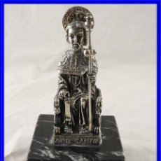 Oggetti Antichi: APOSTOL SANTIAGO DE PLATA SOBRE MARMOL. Lote 208759202