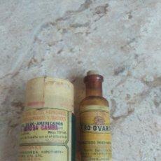 Antigüedades: ANTIGUO FRASCO FARMACIA - MEDICAMENTO TIRO - OVARINA - PRODUCTOS PUY - MADRID - BARCELONA - REUS. Lote 208772072
