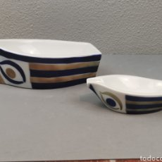 Antigüedades: BARCA Y CENICERO BARCO DE PORCELANA SARGADELOS.. Lote 208787855