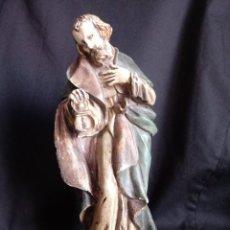Antigüedades: SAN JOSÉ CON FAROL EN YESO POLICROMADO. Lote 208806383