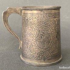 Antigüedades: CORNELIUS BLAND , LONDON 1871 , CUP SILVER , COPA BAUTISMAL DE PLATA DE LEY CONTRASTADA. Lote 169986596