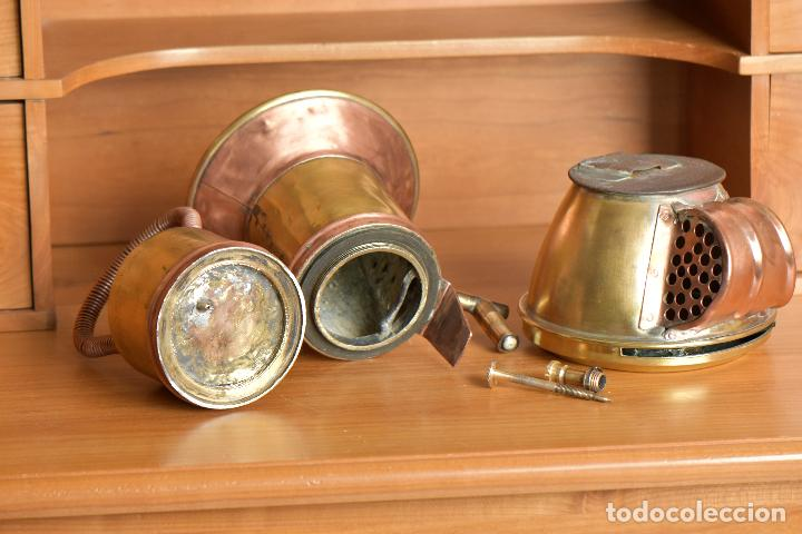 Antigüedades: FAROL DE CARBURO. DE 27 CM DE ALTO 20 DE LARGO Y 15 DE ANCHO. RESTAURADO - Foto 11 - 208819952