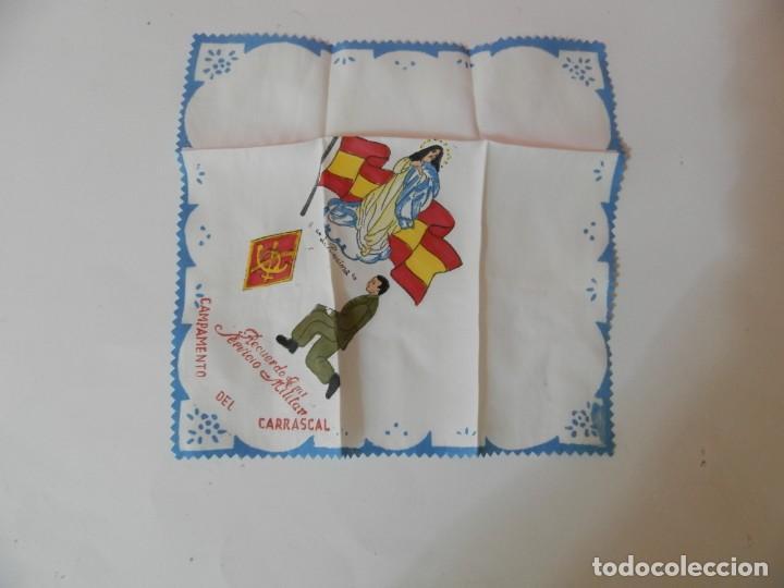 Antigüedades: PAÑUELO RECUERDO DE MI SERVICIO MILITAR CAMPAMENTO DEL CARRASCAL. LA PURISIMA - Foto 2 - 208837612