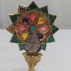 Antigüedades: ANTIGUA VIRGEN EN METAL PLATEADO Y METAL DORADO. Lote 208856360