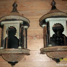 Antigüedades: ANTIGUA PAREJA DE FAROLES GRANADINOS. Lote 208883793