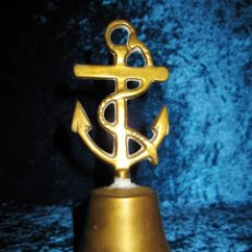 Antigüedades: ANTIGUA CAMPANA DE MANO BRONCE ANCLA NÁUTICA. Lote 208885468