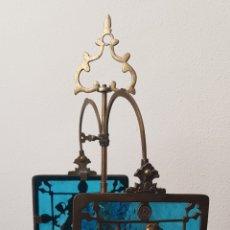 Antigüedades: LÁMPARA CANDELABRO DE ACEITE , BRONCE-LATON. Lote 208915412
